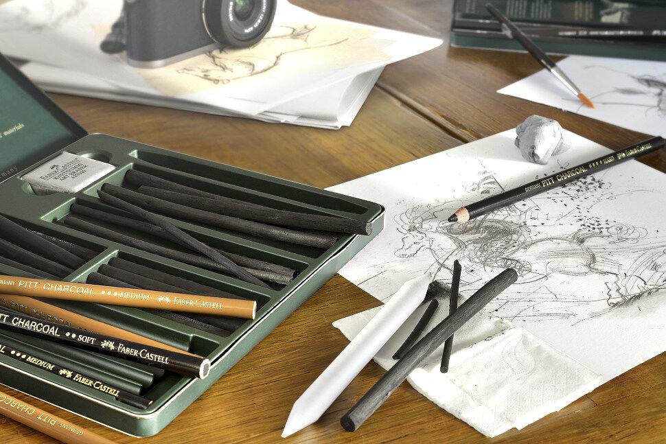 Набор угольных карандашей и угля для рисования Faber-Castell